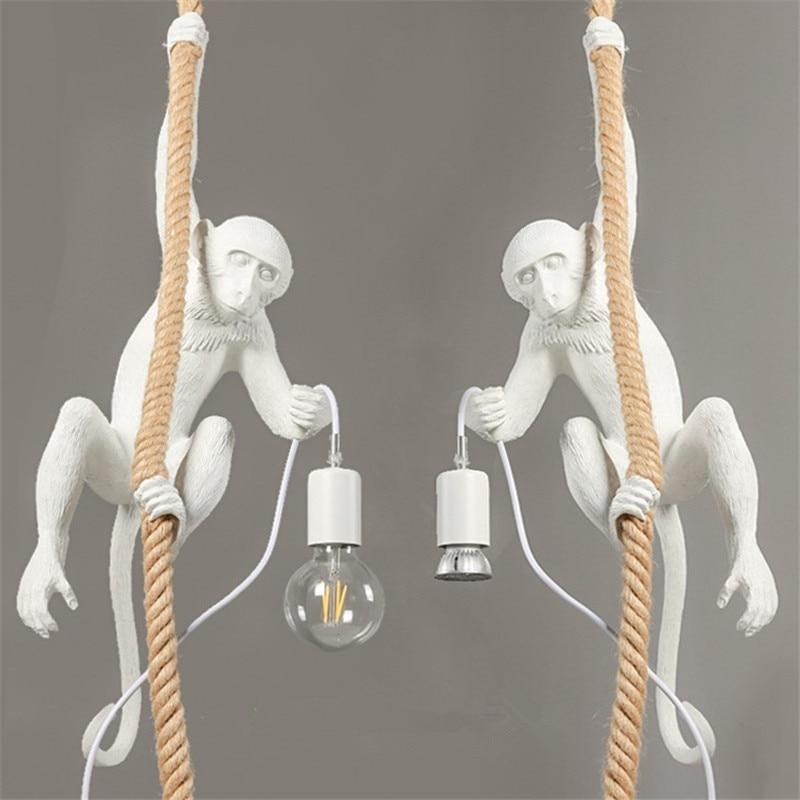 Modern Creative Resin White Monkey Lamp Loft Vintage Hemp Rope Pendant Light Sitting Standing Climbing Hanging Monkey Lamp WhiteModern Creative Resin White Monkey Lamp Loft Vintage Hemp Rope Pendant Light Sitting Standing Climbing Hanging Monkey Lamp White