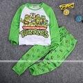 2016 новый малыш малыш мальчик пижамы костюмы с длинным рукавом мультфильм черепаха футболка + брюки комплект пижамы Pjs Pyjama 1-7Y