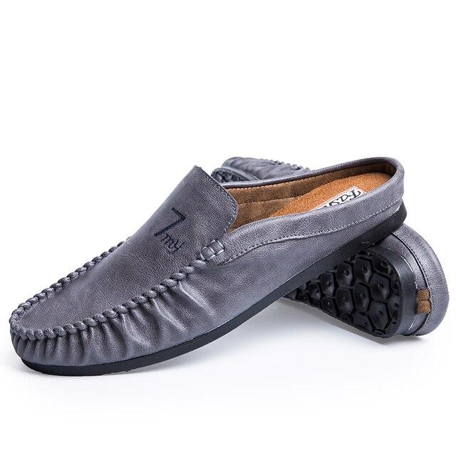 Apartamentos dos homens Sapatos Casuais Homens Sandálias Chinelos de Motorista do Sexo Masculino Metade Arrastar Sapato Praia Baotou Sapatos Preguiçosos de Verão Ao Ar Livre Zapatillas