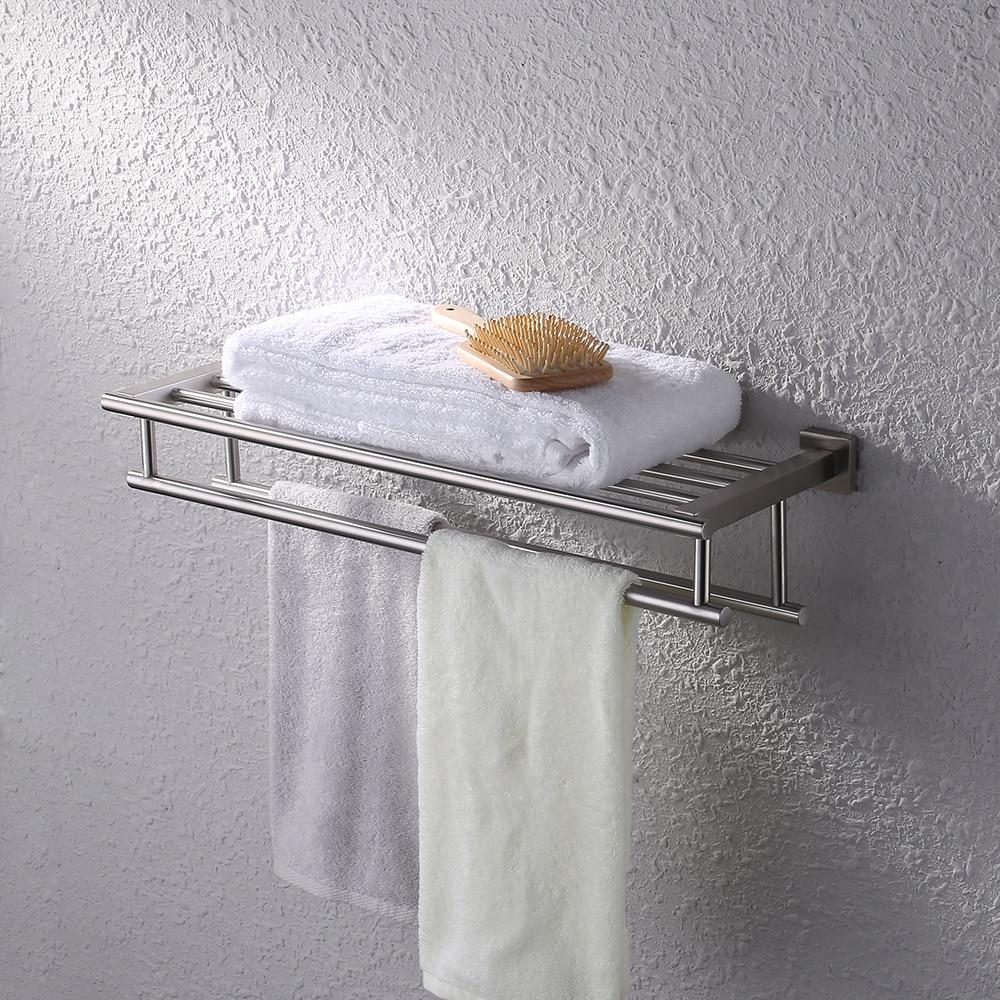 kes bathroom bath towel rack with double towel bar 24 inch wall mount shelf rustproof stainless. Black Bedroom Furniture Sets. Home Design Ideas