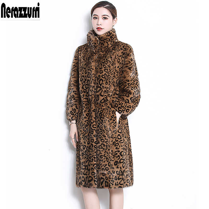 Nerazzurri Real mink fur coat leopard print mink coats long sleeve warm thick luxury plus size natural fur overcoat 5xl 6xl 7xl