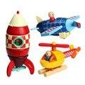 1 pc/pacote veículo de madeira brinquedos de blocos / de madeira do bebê montar avião / foguete / helicóptero brinquedos kids para crianças de aprendizagem brinquedos educativos