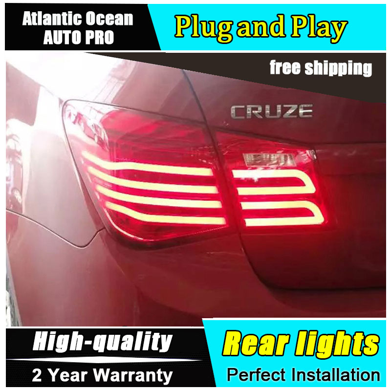 JGRT Car Styling for Chevrolet Cruze Taillights New Cruze Sedan LED Tail Lamp GLK LED Rear Lamp Fog Light For 1Pair ,4PCS car styling tail lights for toyota highlander 2015 led tail lamp rear trunk lamp cover drl signal brake reverse
