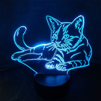 Cat 3D Christmas Gift Acrylic LED Night Light Touch 7 Color changing Desk Table Lamp Party Decorative Light