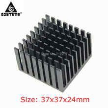 1 Pieces/lot 37x37x24mm Black Radiator Aluminum Heat Sink For BGA Packages цена