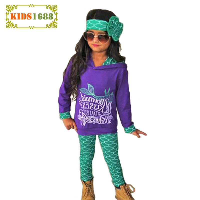 Spring Mermaid Kids Girls Clothing Set New Brand Letter Hooded T shirt+Pant+Headband 3pcs Little Girl Toddler Sets Clothes Costu children s clothing bats masquerade party parties dressing up female shaman cloak witch suit clothes suits
