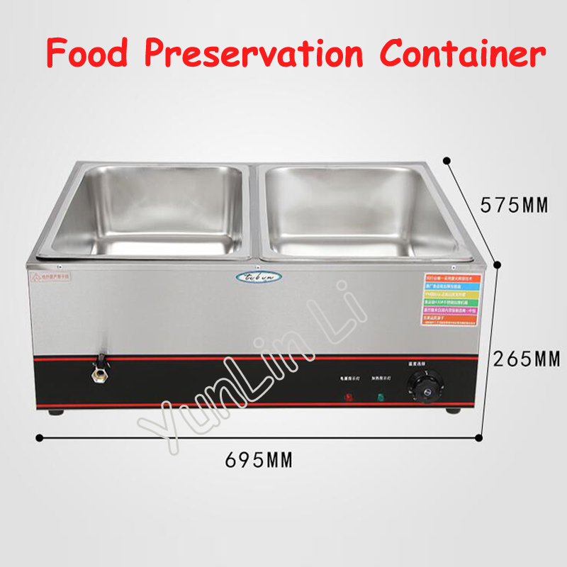 2 Tanks Electric Food Preservation Container Commercial Stainless Steel Steam Table Fast Food Insulation Table oulm mens designer watches luxury watch male quartz watch 3 small dials leather strap wristwatch relogio masculino