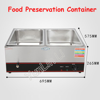 2 Tanks Electric Food Preservation Container Commercial Stainless Steel Steam Table Fast Food Insulation Table