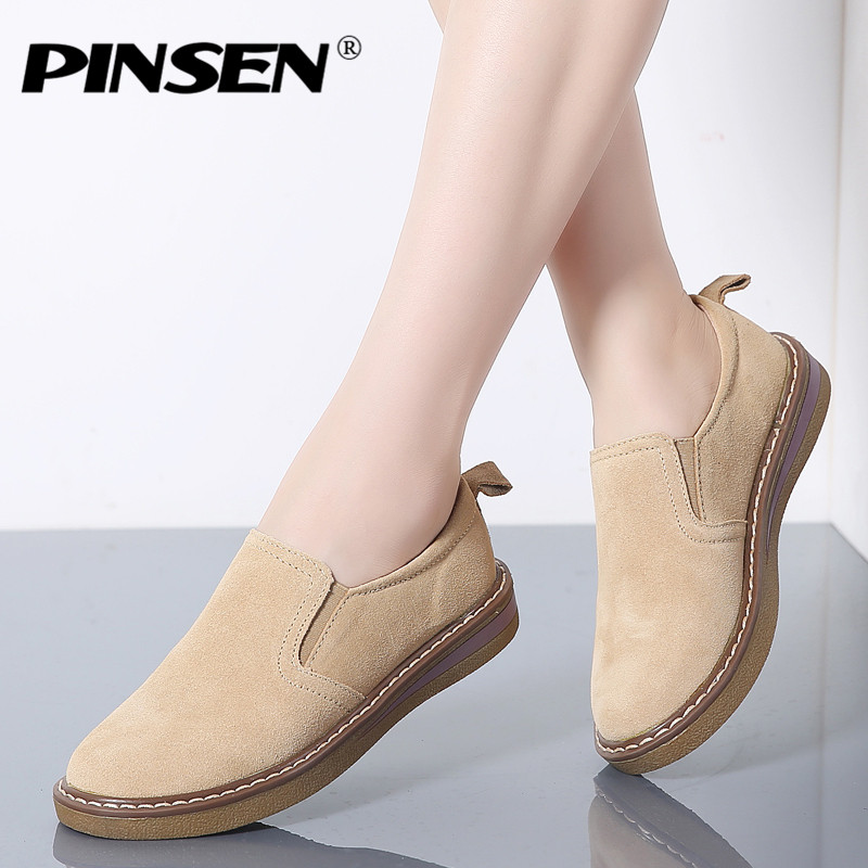 PINSEN 2020 Autumn Women Flats Shoes Sneakers Women Ballerina Shoes Woman Leather Suede Slip On Ladies Shoes Oxfords for Women