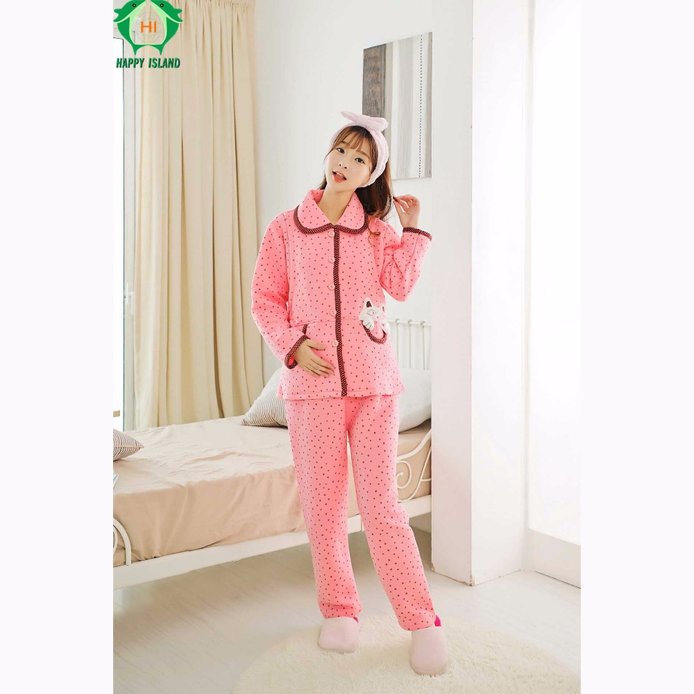 Winter Maternity Pajamas Pure Cotton Hamile Pijama Nursing Pajamas Nightwear for Breastfeeding Camiso Maternidade Sleepwear
