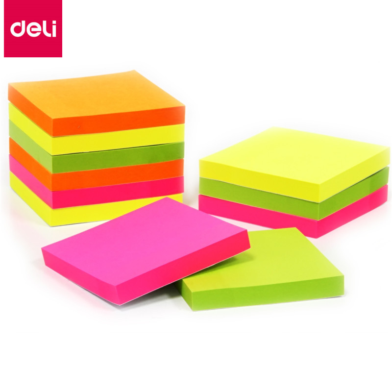 Deli 100 Sheets 9085 Self Adhesive Memo Pads Sticker Paper Note Decoration School & Office Stationery 76x76mm Memo Pads 200 sheets 2 boxes 2 sets vintage kraft paper cards notes notepad filofax memo pads office supplies school office stationery