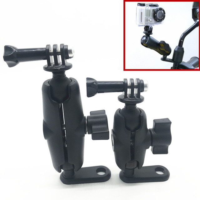Motorcycle rearview mirror or Pinch Bolt Mount with Double Socket Standard Arm for GoPro Hero Camera for RAM mount