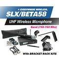 Free Shipping! UHF SLX24 BETA58 Handheld Karaoke Wireless Microphone System SLX with all rack kit accessories Q4 Band 740-764Mhz
