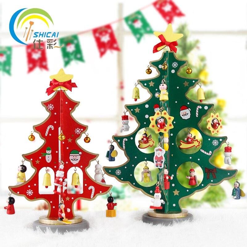 Kerst Hout Decoratie Diy Tafel Top Voor Party Thuis Bar Kerstboom Herten Sneeuwpop Ornament Aanwezig Festival Gratis Verzending Zacht En Licht