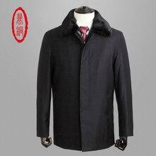 Top Brand men fur coat Thick Winter Parkas Fur Liner and Collar Coldproof windproof Overcoats Cashmere Silk Parkas windbreaker