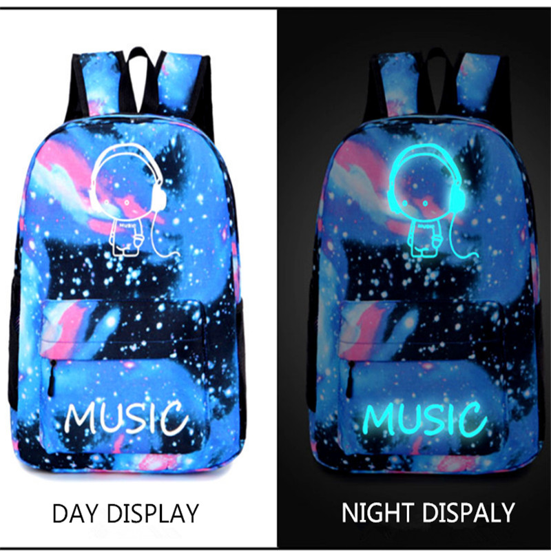 Hot sales Luminous backpack Cartoon pattern high quality 600D Waterproof Oxford cloth outdoor backpack travel street adult bags ...