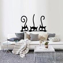 Три забавных кота, животные, наклейка на стену, бытовая комната, ПВХ, наклейки на окна, Фреска, сделай сам, украшение, Съемные 3D наклейки на стену, домашний декор