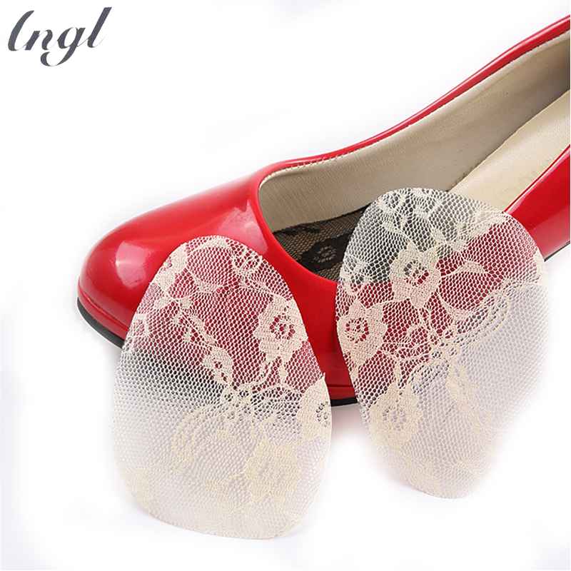 1pair PU front palm pad before the half pad lace silicone front pad half yards high heel shoes insoles anti-skid anti-cushion