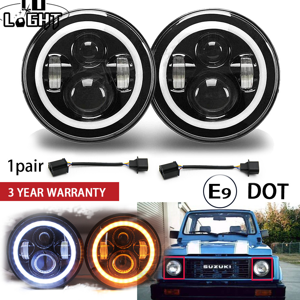 CO LIGHT 1 Pair 7 '' Lights Running 50W Hi Lo H13 Led Kits Headlight Headlight H4 Auto Led for LADA Nissan Safari Patrol UAZ HUMMER