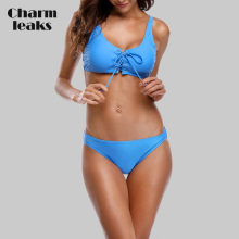 Charmleaks Women Bikini Set Solid Color Swimwear Bandaged Swimsuit Padded Sexy Bikini Bathing Suit Beachwear sexy style solid color lace splicing bikini set for women