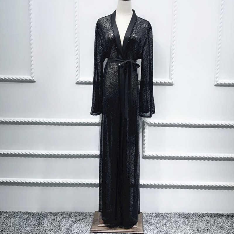 Plus Size Nero di Paillettes Kimono Mujer 2019 Abaya Musulmano Delle Donne Lungo Della Rappezzatura Del Merletto Chiffon Cardigan Kimono Lungo Roupas Feminina