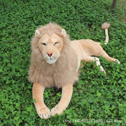 simulation animal 130cm large prone lion plush toy birthday gift w5140