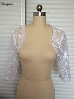 Летний стиль vinoprom аппликация невесты Болеро 3/4 рукава Куртка Кружево Свадьба 2017 Свадебные куртка для невесты