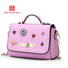 PU small package material Ms. new fashion bags handbag chain lock bag Korean multi-function four popular colors are available