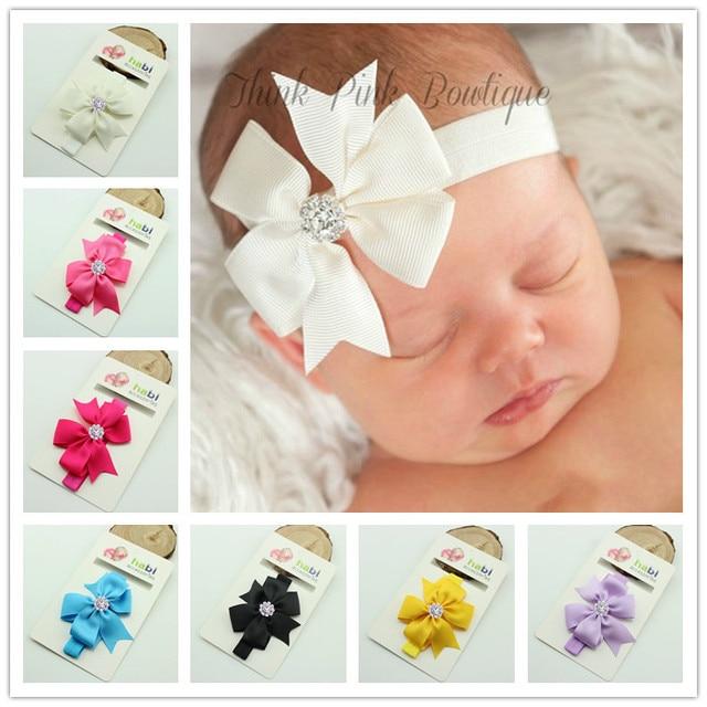 Повязка на голову для девочек младенческие волосы для новорожденных Тиара головной убор для малышей ленты дети кристалл лук аксессуары для волос в виде тюрбана повязка на голову
