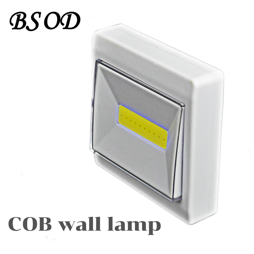BSOD 2pcs/pack Led Small Night Lamp Cool White COB Source Dry Battery Wireless Wall Lamp Novelty Magnet Table Lamp Emergency
