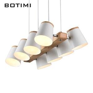 Image 4 - Регулируемые подвесные светильники BOTIMI E27, Деревянный светильник для столовой, современный белый шнур, подвесной светильник с металлическими лампами