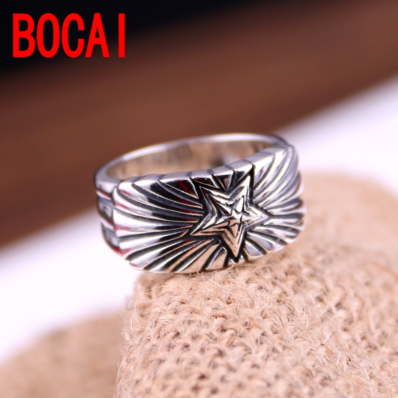 S925 genuine sterling silver ring South Korea version old Taiyin sun flower ring star silver jewelry and new