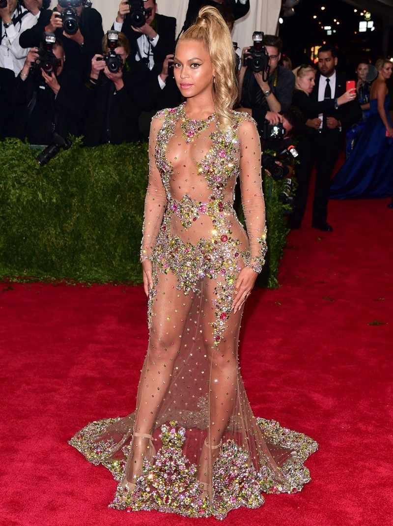 فساتين المشاهير مثيرة بأكمام طويلة بتصميم حورية البحر لعام 2019 فساتين حفلات راقصة مطرزة بالكريستال ملونة فساتين السجادة الحمراء Beyonce Jay Met Gala
