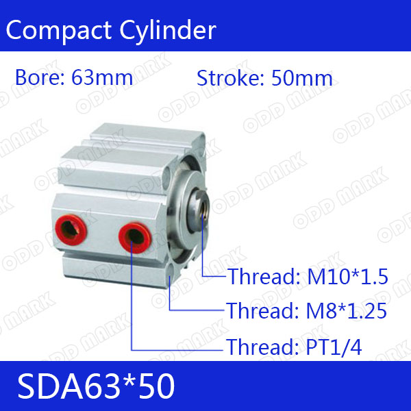 SDA63*50 Free shipping 63mm Bore 50mm Stroke Compact Air Cylinders SDA63X50 Dual Action Air Pneumatic Cylinder sda63 50 b free shipping 63mm bore 50mm stroke external thread compact air cylinders dual action air pneumatic cylinder