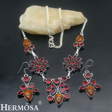 New Unique Jewelry Set Garnet HotAmber 925 Sterling Silver Necklace Earrings Womens Sets NY463 Latest Charms Perfect Lady Gift