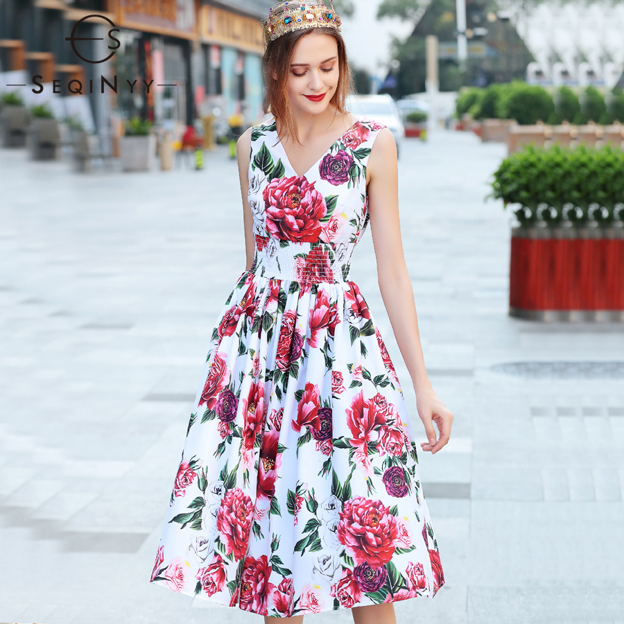SEQINYY Printed Dress Red Rose Girls Summer 2018 New Arrvial Sleeveless V-neck Fashion Flowers Knee A-line White Holiday Dress new kids girls fashion o neck sleeveless dress cute animals print dress girls a line dress clear