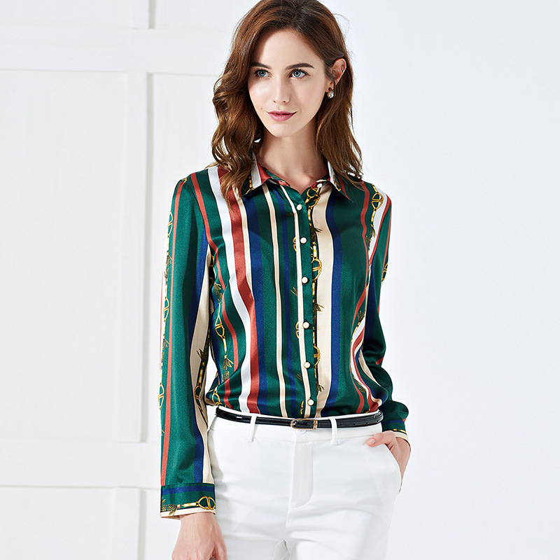 100 Mulberry Silk Shirt Satin Blouses Shirt Woman Long Sleeve Slim Stripe Summer Ladies Tops Personalized