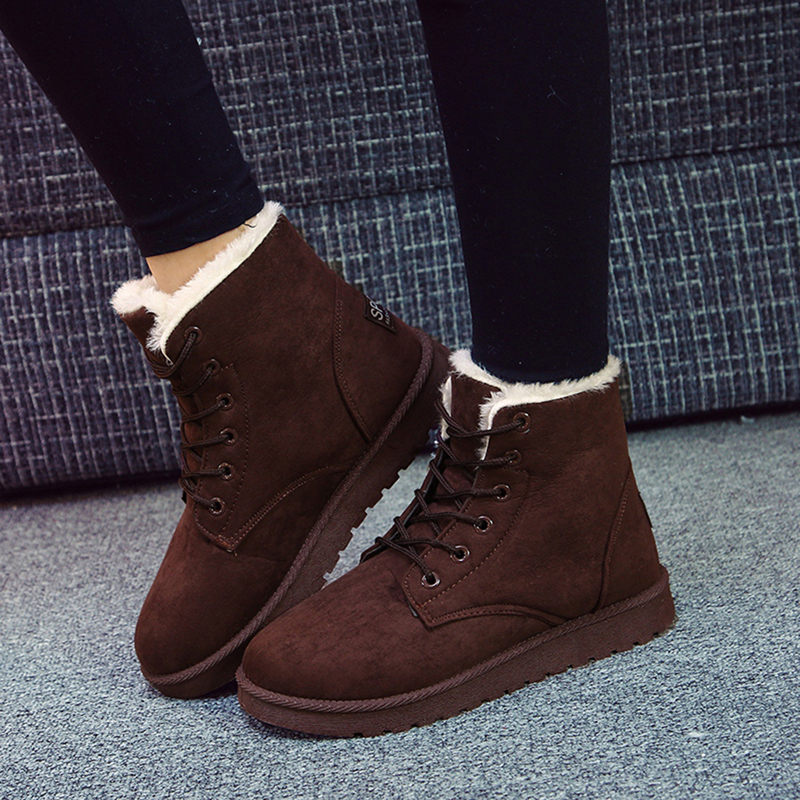 Classic Women Winter Boots Ankle Snow Boots Women Winter Warm Flock Boots Shoes Round Toe Lace-Up Flats Thick Fleece Botas Femme