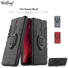For Xiaomi Mi 9T Case Luxury Armor Metal Finger Ring Holder Hard Phone Bumper Protective Cover