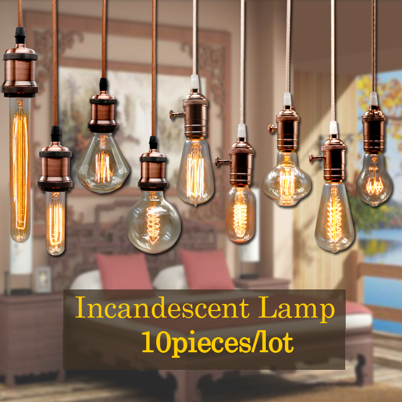 MACLOU 10pcs Vintage Edison Bulb G80 G95 ST64 E27 220V 40W Retro Lamp Vintage Light Bulb Lamp Incandescent Light Decor Filament