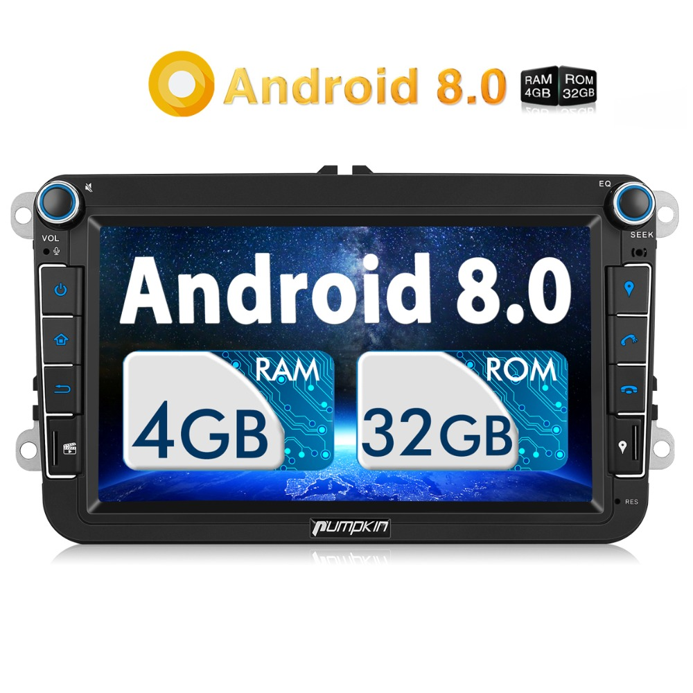 Pumpkin 2 Din 8 Car Radio Android 8.0 GPS Navigation 4GB RAM Car Stereo Audio For VW/Skoda/Seat/Golf Radio Video Player NO DVD funrover android 8 0 two 2 din 9 inch car dvd player stereo for vw volkswagen polo golf skoda octavia seat radio wifi usb no dvd