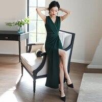 Платье на плечо летнее темно зеленое Новое Сексуальное Женское летнее платье с v образным вырезом
