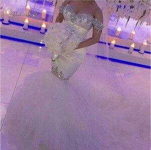 Image 1 - Robes de mariée Mermiad épaules dénudées 2019 vente chaude nouveau Court Train de luxe cristal strass Tulle robes de mariée