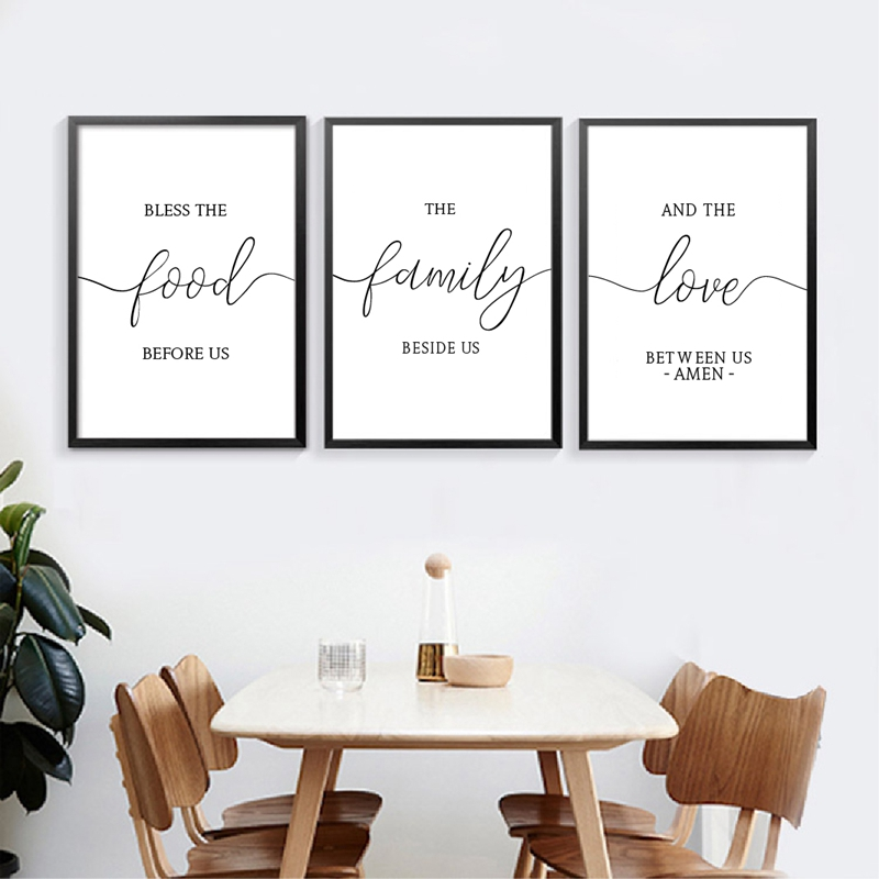 Kitchen Blessing Wall Decor: Bless The Food Family Quote Art Canvas Prints , Minimalist