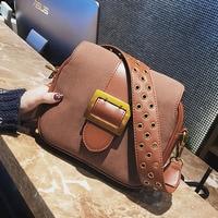 ETAILL Women Rivet Wide Strap Shoulder Bag Fashion Buckle Handbag 2018 Brand Designer Scrub Pu Leather Small Crossbody Bags