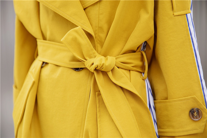 Korean Women Clothes 18 Autumn Windbreaker Female Long Coat New Style Striped Stitching Yellow Winter Trench Coat 15
