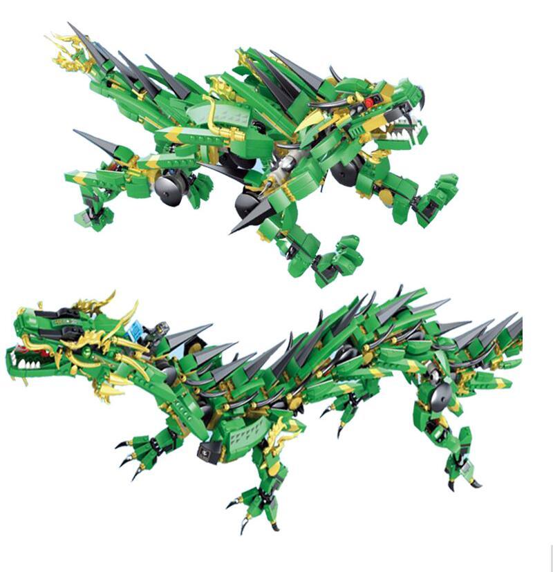 цена 2-in-1 1443pcs Ninjagoes Set Green Ninja Mech Dragon Lloyd Wu Garmadon Charlie Movie Building Block For Children Gift 70612