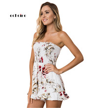 Echoine Women Fashion Jumpsuit Floral Print Sexy Strapless Off Shoulder Pleated Chiffon Loose Short Pants Female Vacation Romper
