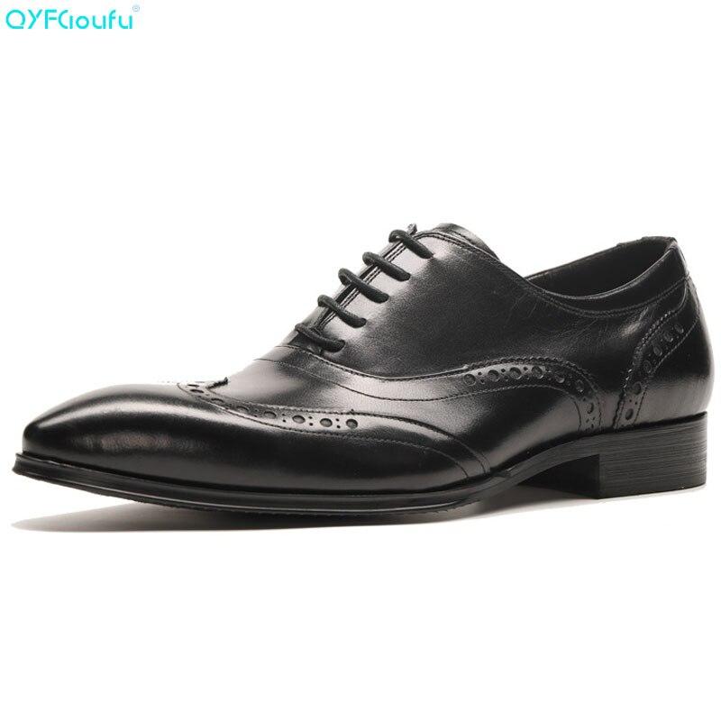 Preto Homens Casual Formal Dedo Britânico Brogue marrom Calçados Escritório Negócios Sapato Qyfcioufu Vestido Couro De Moda Sapatos Genuínos Apontado R65qxw4T