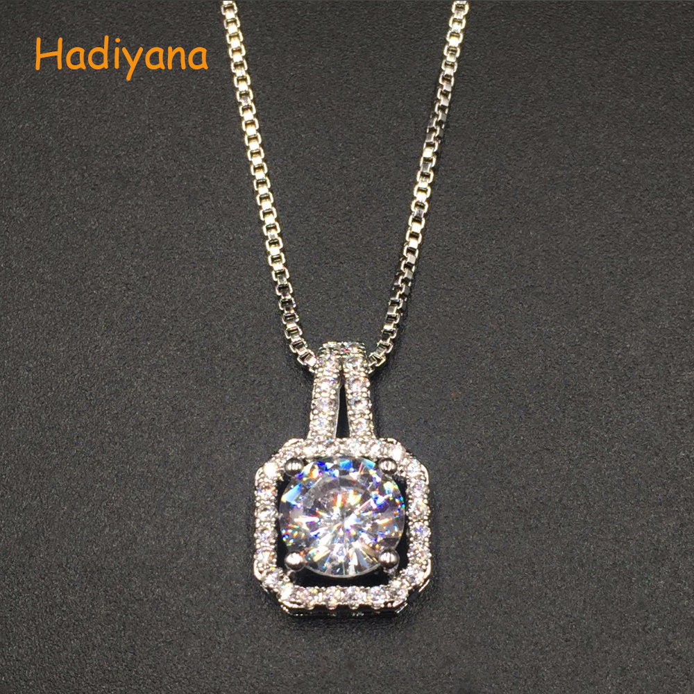 Hadiyana Luxury Vintage Pendant Necklace White Clear Zirconia Pendant Gold For Lady Cute Special Fashion Gift For Lover XL353